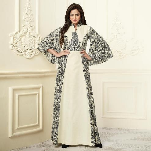 Off-White Color Partywear Embroidered Rayon-Georgette Long Kurti