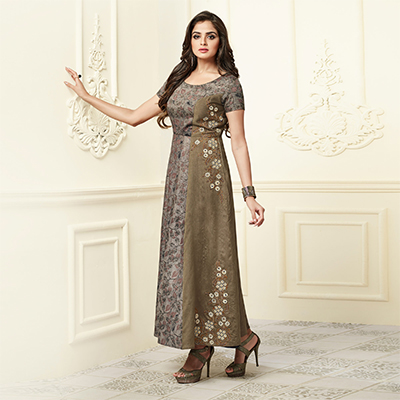 Unique Brown-Gray Colored Partywear Embroidered Rayon-Raw Silk Long Kurti