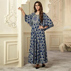 Opulent Gray-Navy Blue Colored Partywear Embroidered Rayon-Raw Silk Long Kurti