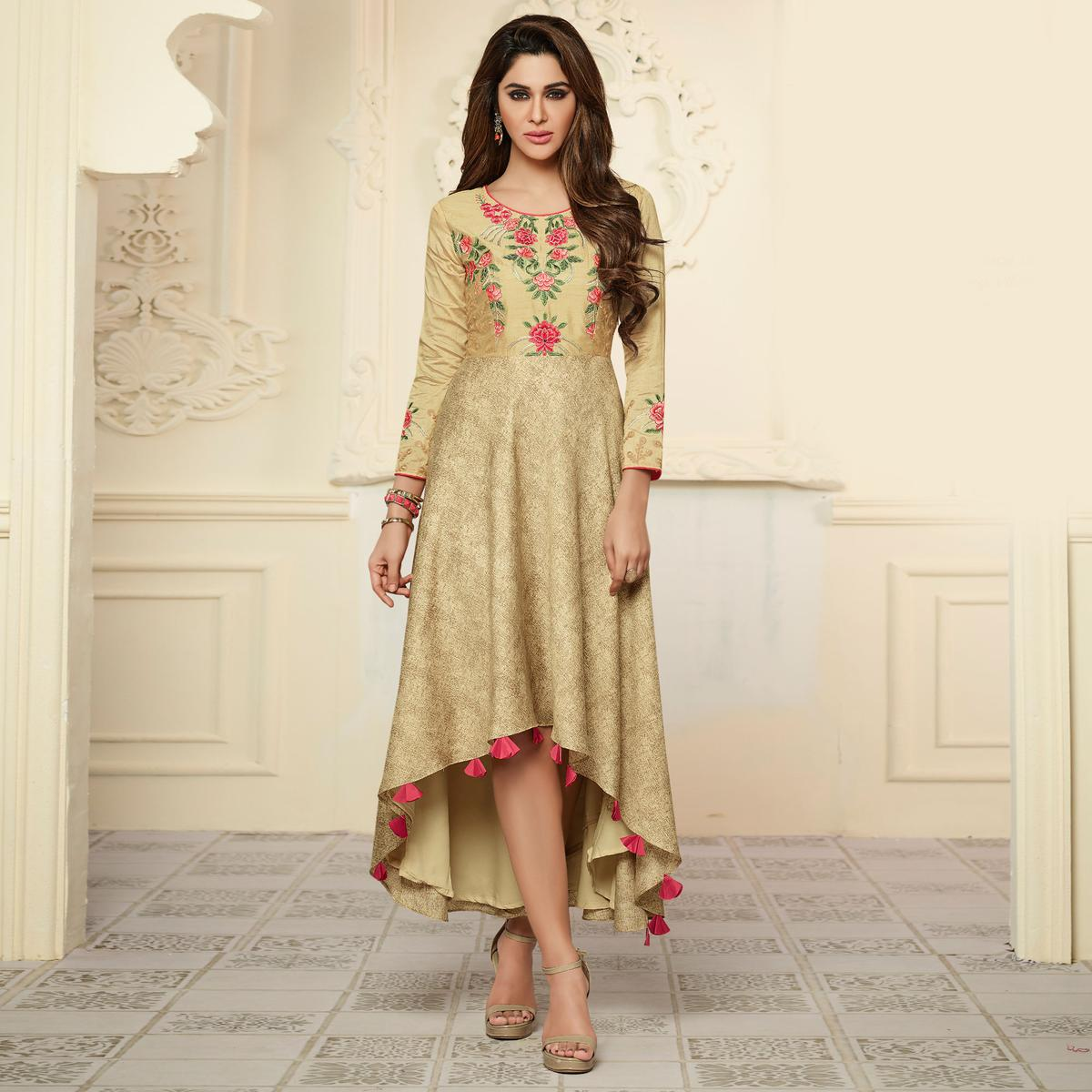Refreshing Beige Colored Partywear Embroidered Rayon-Satin Long Kurti