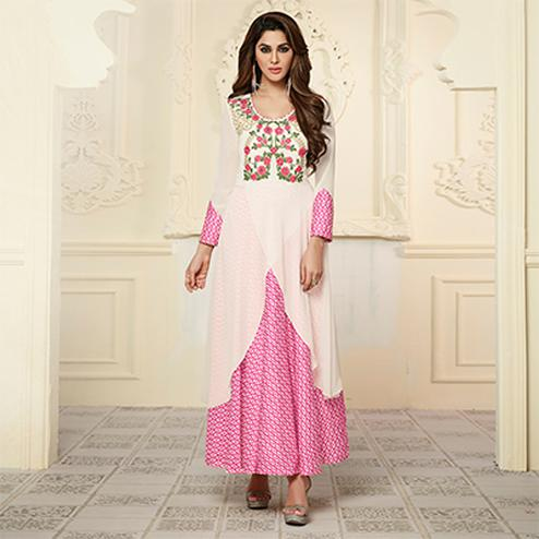 Attractive White-Pink Colored Partywear Embroidered Satin-Georgette Long Kurti