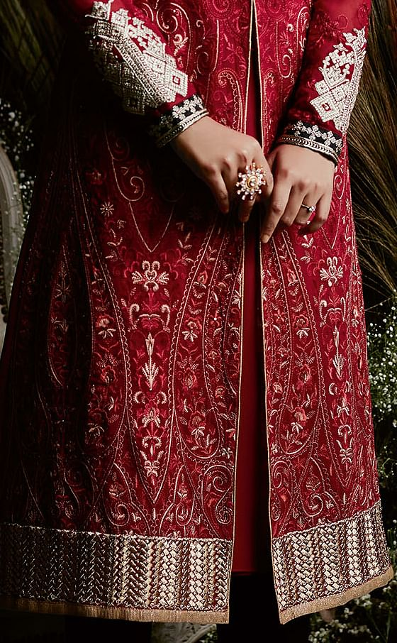 Magnetic Red Colored Partywear Embroidered Georgette Suit