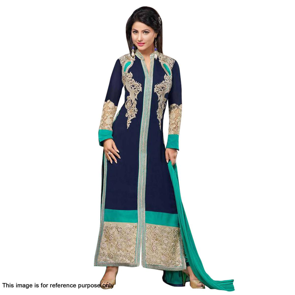 Blue And Green Georgette Embroidered Salwar Suit