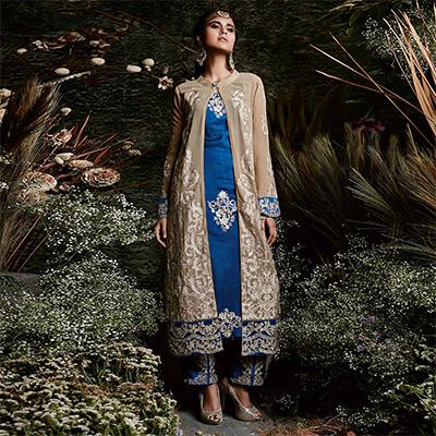 Outstanding Beige-Blue Colored Partywear Embroidered Georgette Suit