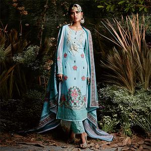 Glorious Sky Blue Colored Partywear Embroidered Georgette Suit