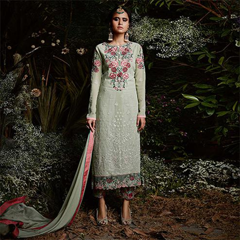 Unique Light Mint Green Colored Partywear Embroidered Georgette Suit
