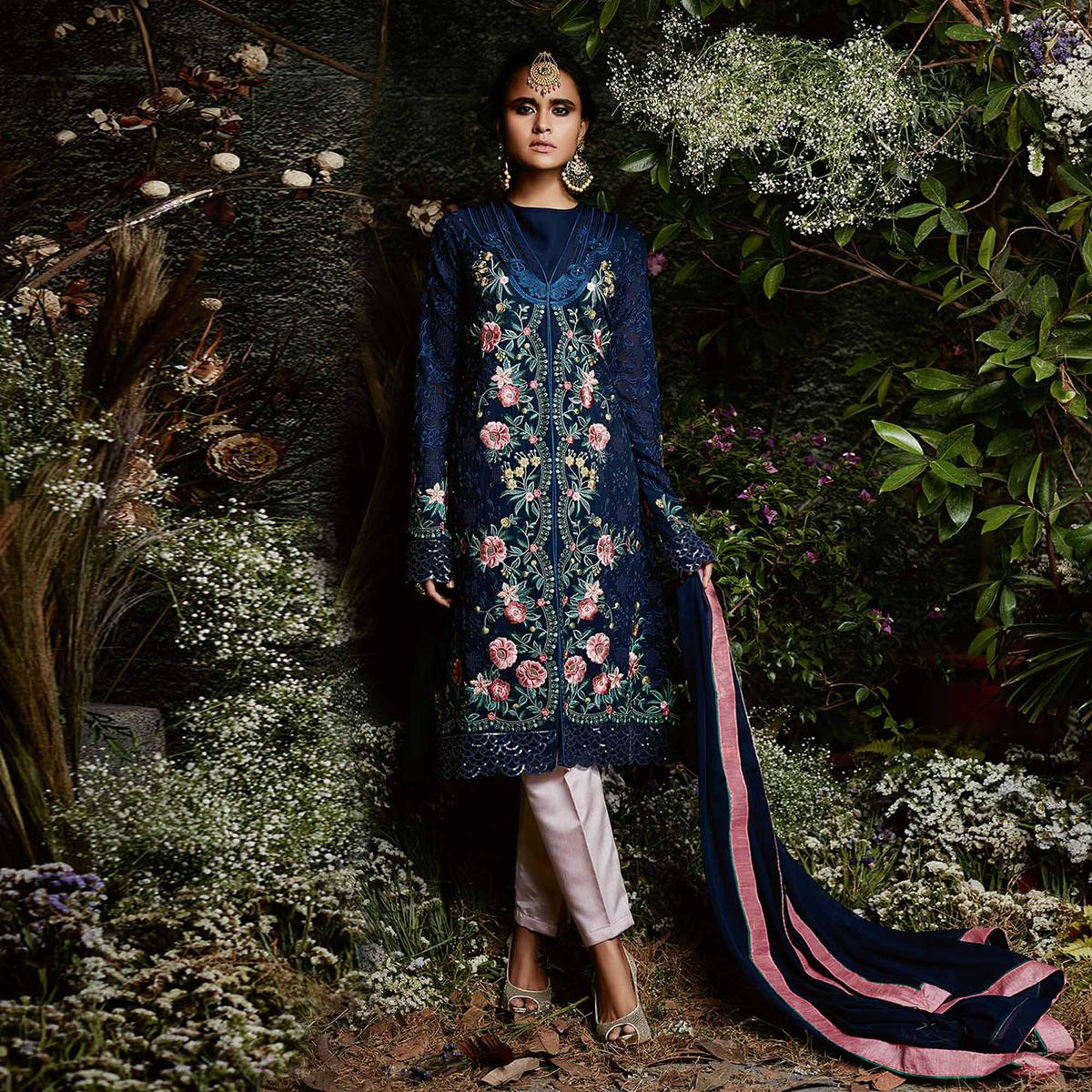 Staring Navy Blue Colored Partywear Embroidered Georgette Suit