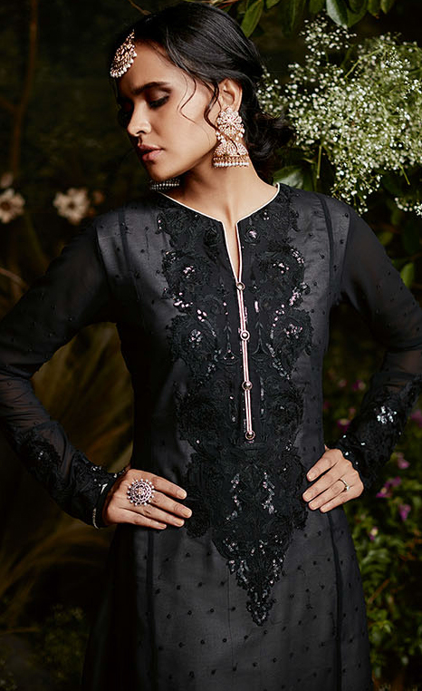 Blissful Black Colored Partywear Embroidered Georgette Suit
