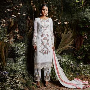 Pleasant White Colored Partywear Embroidered Georgette Suit