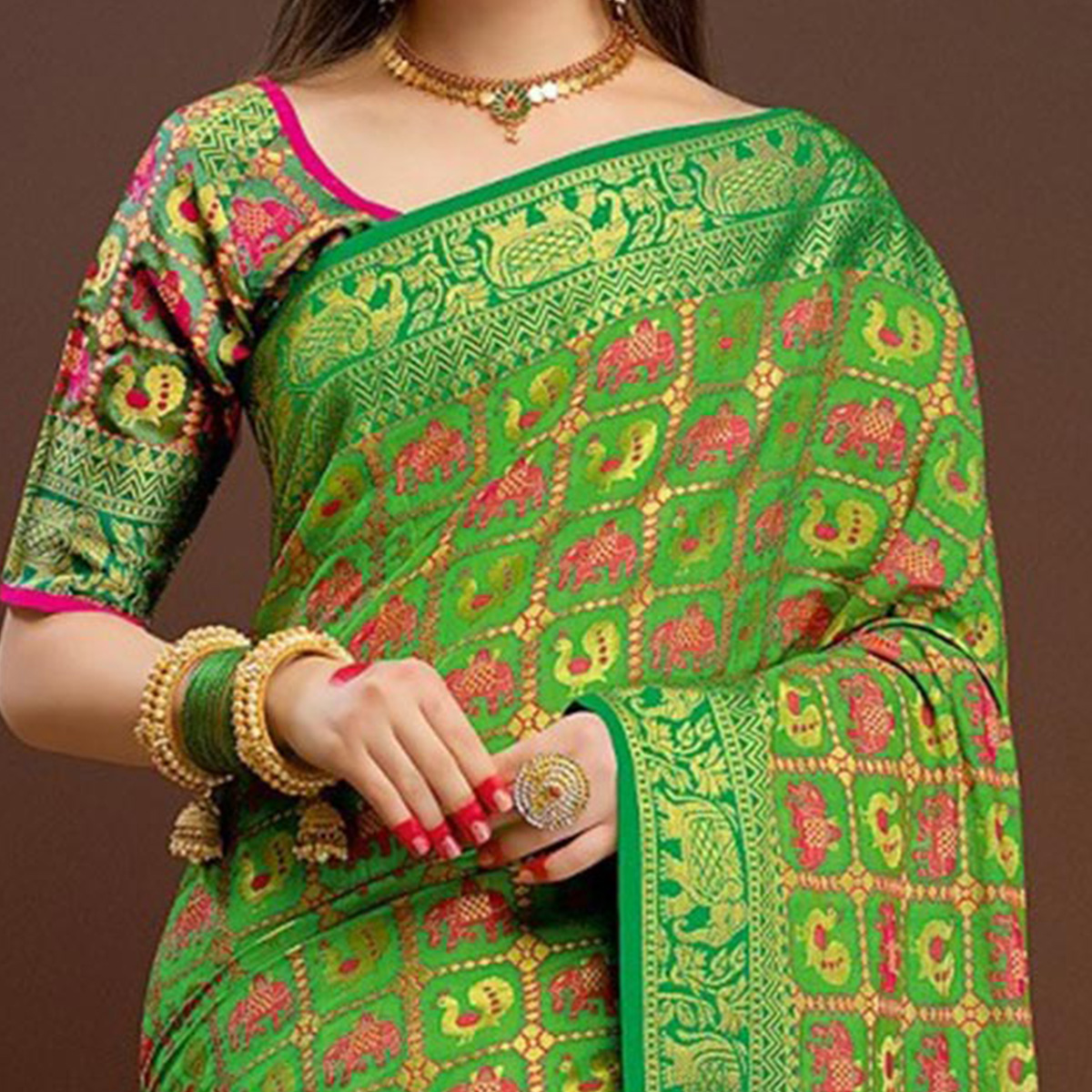 Intricate Light Green Traditional Designer Festive Wear Poly Cotton Saree