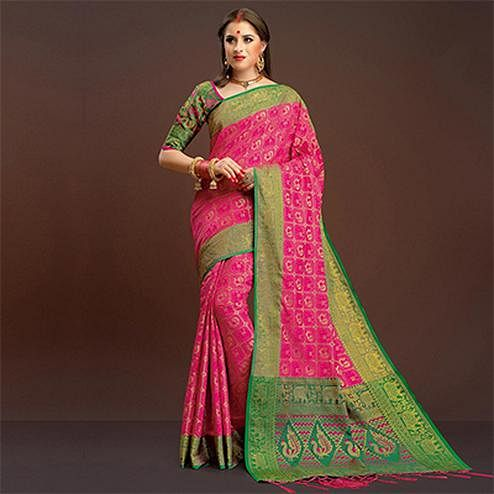 Desirable Deep Pink Traditional Designer Festive Wear Poly Cotton Saree