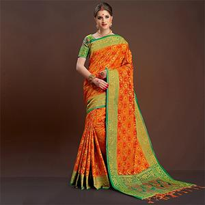 Sophisticated Orange Traditional Designer Festive Wear Poly Cotton Saree