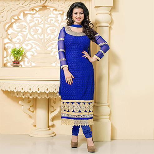 Royal Blue Georgette Embroidered Salwar Suit