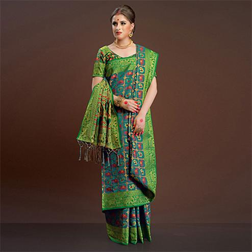 Demanding Rama Green Traditional Designer Festive Wear Poly Cotton Saree