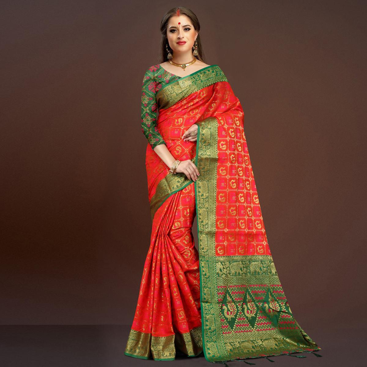 Pleasant Deep Red Traditional Designer Festive Wear Poly Cotton Saree