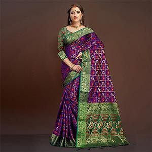 Awesome Purple Traditional Designer Festive Wear Poly Cotton Saree