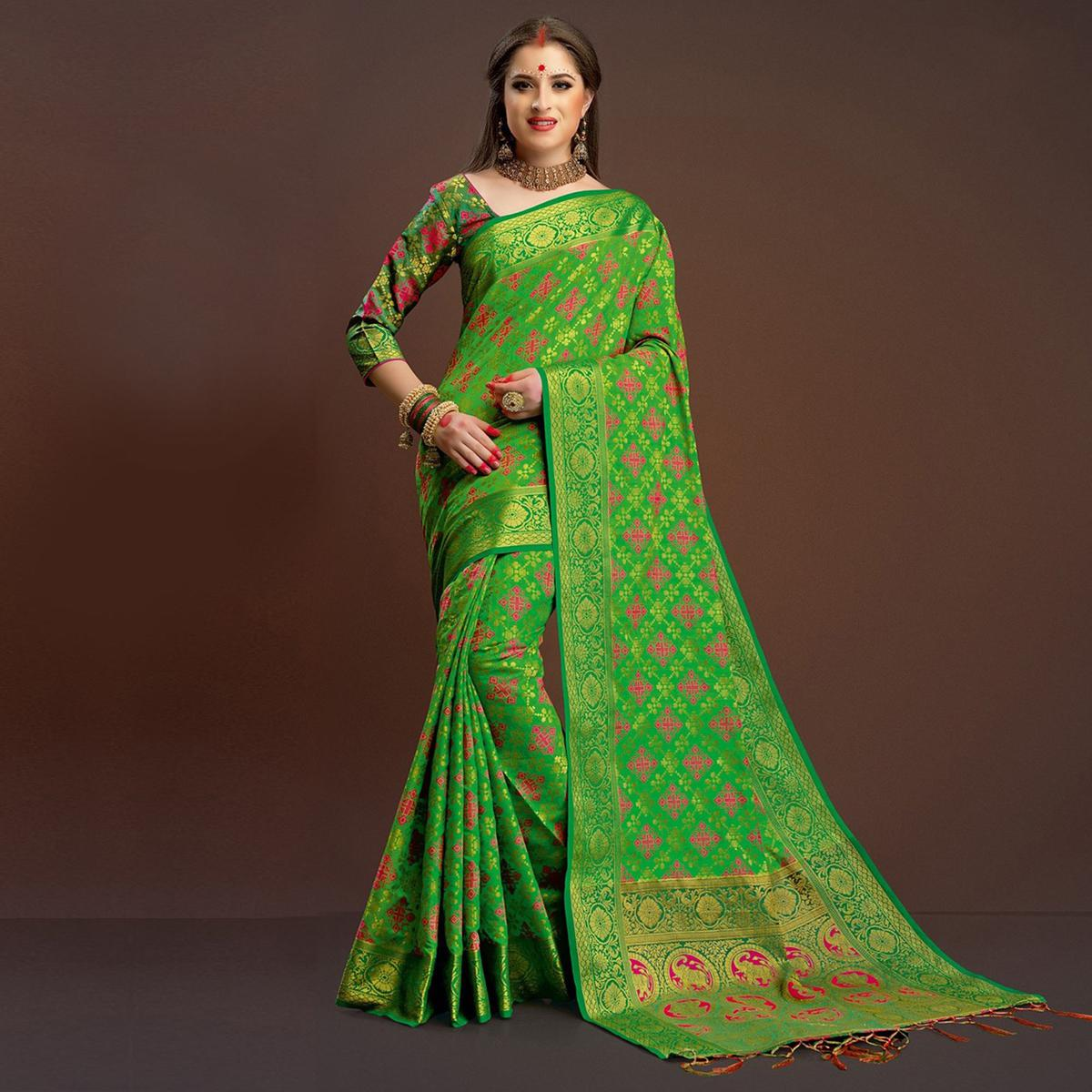 Refreshing Light Green Traditional Designer Festive Wear Poly Cotton Saree