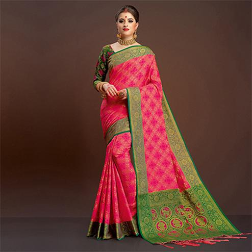 Charming Pink Traditional Designer Festive Wear Poly Cotton Saree