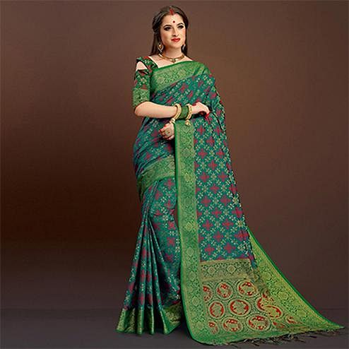 Precious Rama Green Traditional Designer Festive Wear Poly Cotton Saree