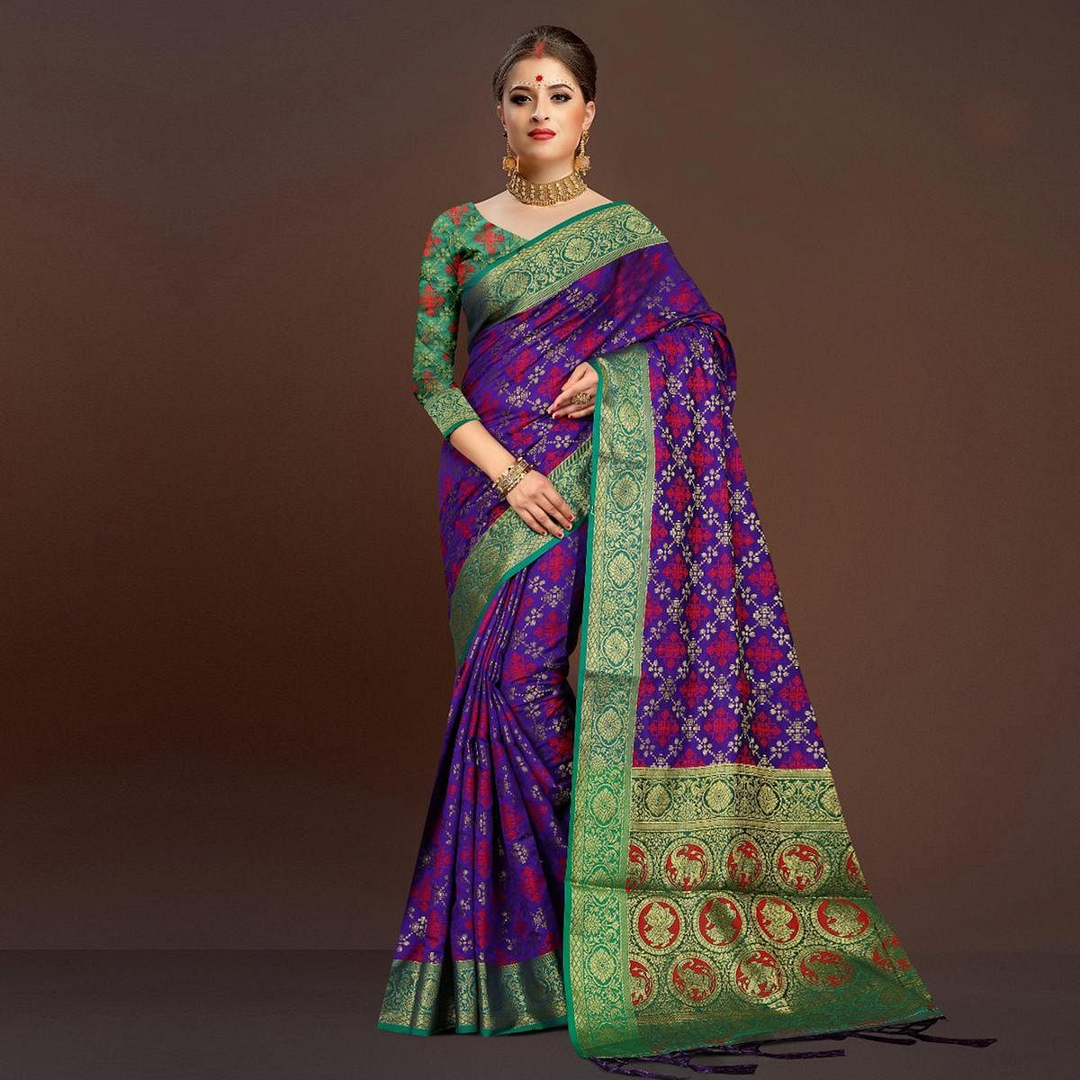 Adorable Purple Traditional Designer Festive Wear Poly Cotton Saree