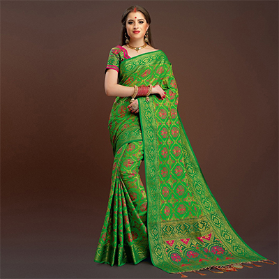 Blooming Light Green Traditional Designer Festive Wear Poly Cotton Saree
