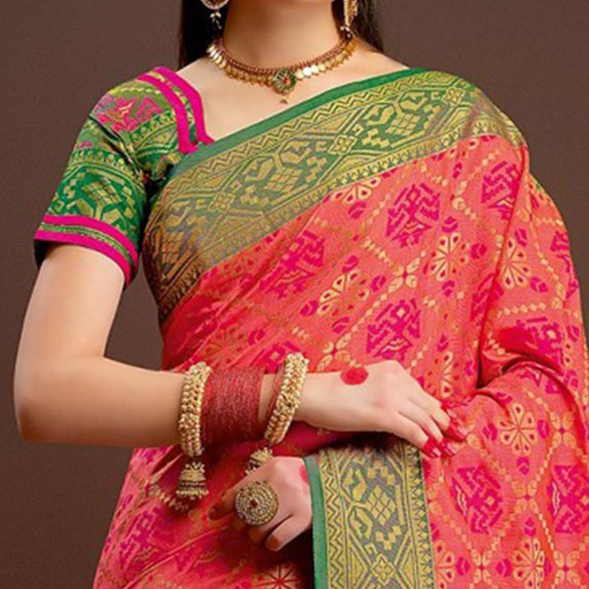 Awesome Pink Traditional Designer Festive Wear Poly Cotton Saree
