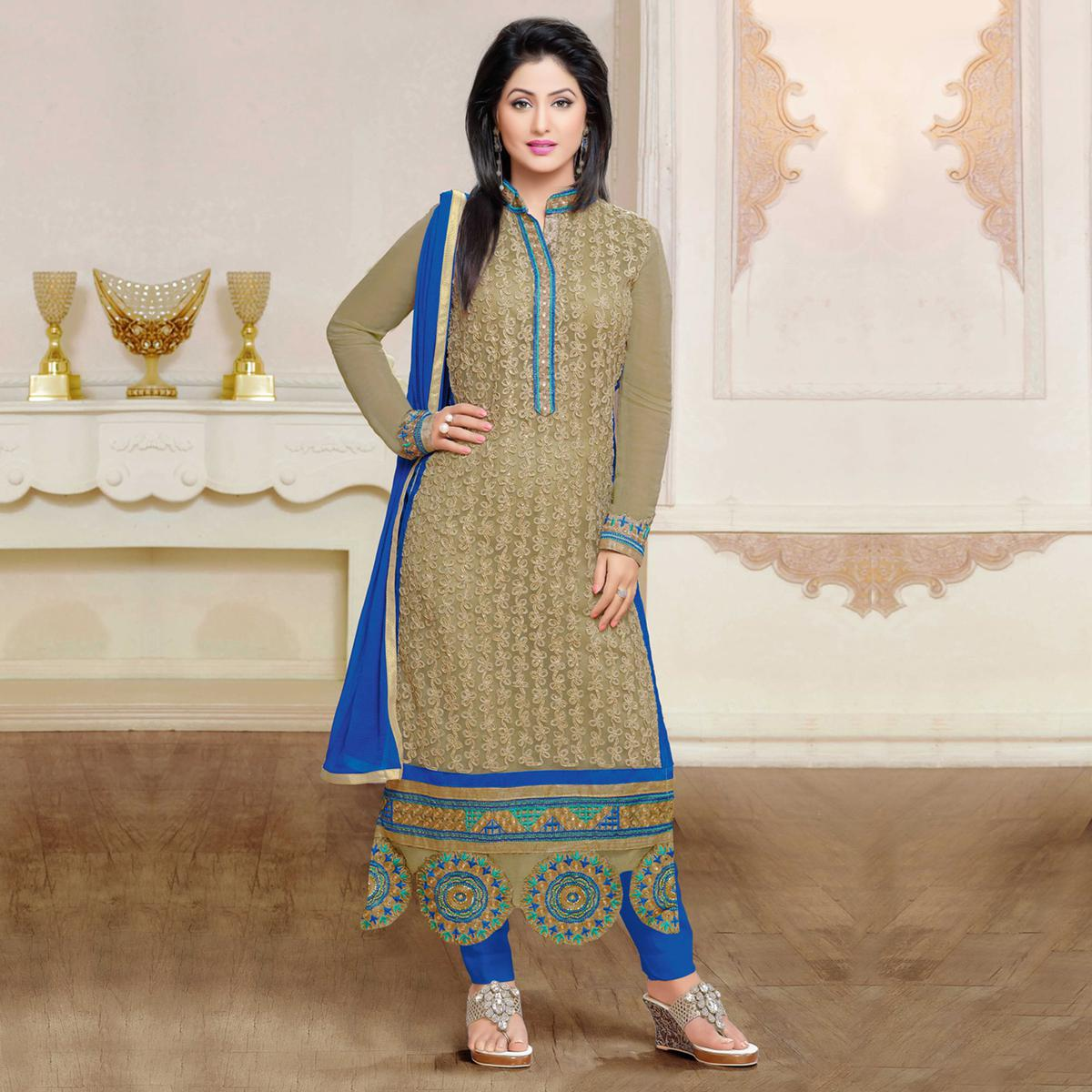 Grey Net Embroidered Salwar Suit