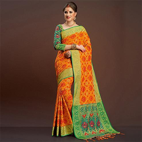 Pleasant Orange Traditional Designer Festive Wear Poly Cotton Saree