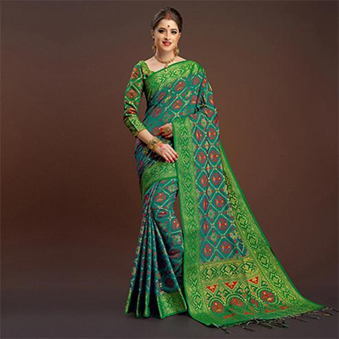 Intricate Rama Green Traditional Designer Festive Wear Poly Cotton Saree