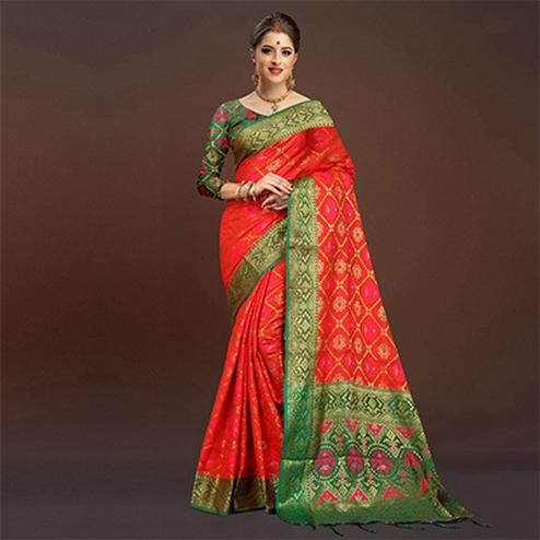 Refreshing Deep Red Traditional Designer Festive Wear Poly Cotton Saree