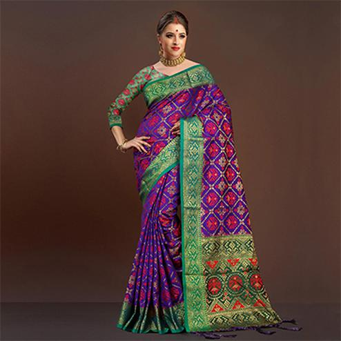 Demanding Purple Traditional Designer Festive Wear Poly Cotton Saree