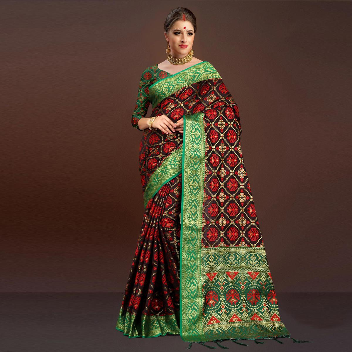 Sophisticated Black Traditional Designer Festive Wear Poly Cotton Saree