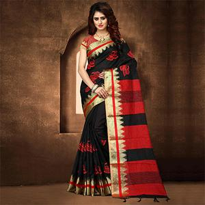 Trendy Black Colored Festive Wear Weaving Poly Cotton Saree