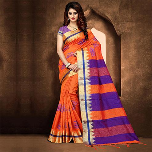 Pretty Orange Colored Festive Wear Weaving Poly Cotton Saree