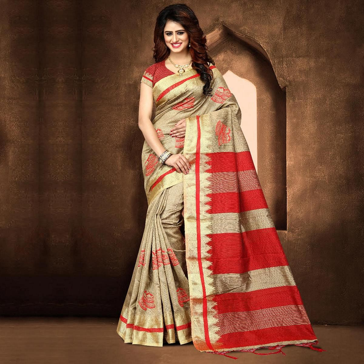 Classy Beige Colored Festive Wear Weaving Poly Cotton Saree