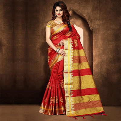 Elegant Red Colored Festive Wear Weaving Poly Cotton Saree
