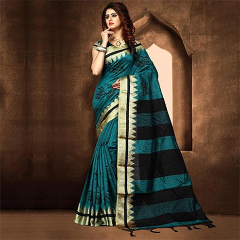 Lovely Dark Turquoise Blue Colored Festive Wear Weaving Poly Cotton Saree
