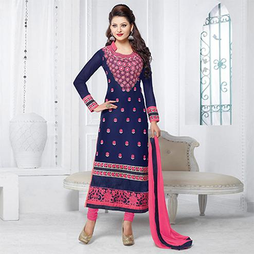 Blue And Pink Georgette Embroidered Salwar Suit