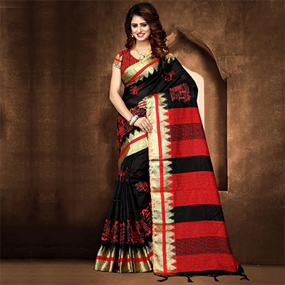 Amazing Black Colored Festive Wear Weaving Poly Cotton Saree