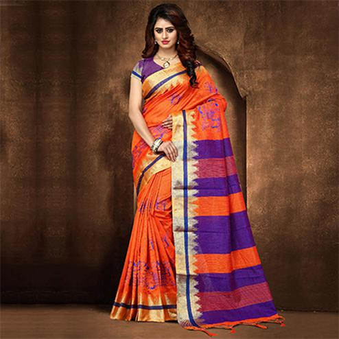 Trendy Orange Colored Festive Wear Weaving Poly Cotton Saree