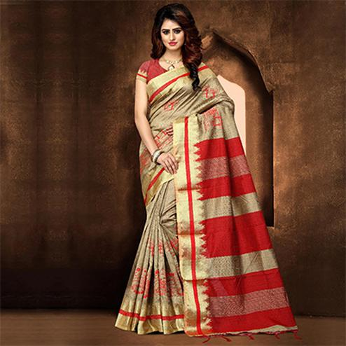 Pretty Beige Colored Festive Wear Weaving Poly Cotton Saree