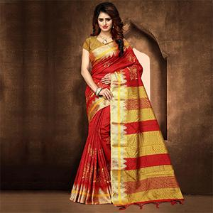 Classy Red Colored Festive Wear Weaving Poly Cotton Saree