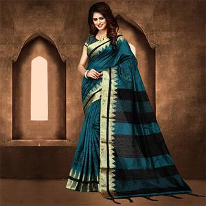 Elegant Dark Turquoise Blue Colored Festive Wear Weaving Poly Cotton Saree