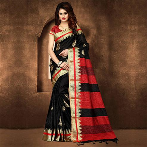 Graceful Black Colored Festive Wear Weaving Poly Cotton Saree