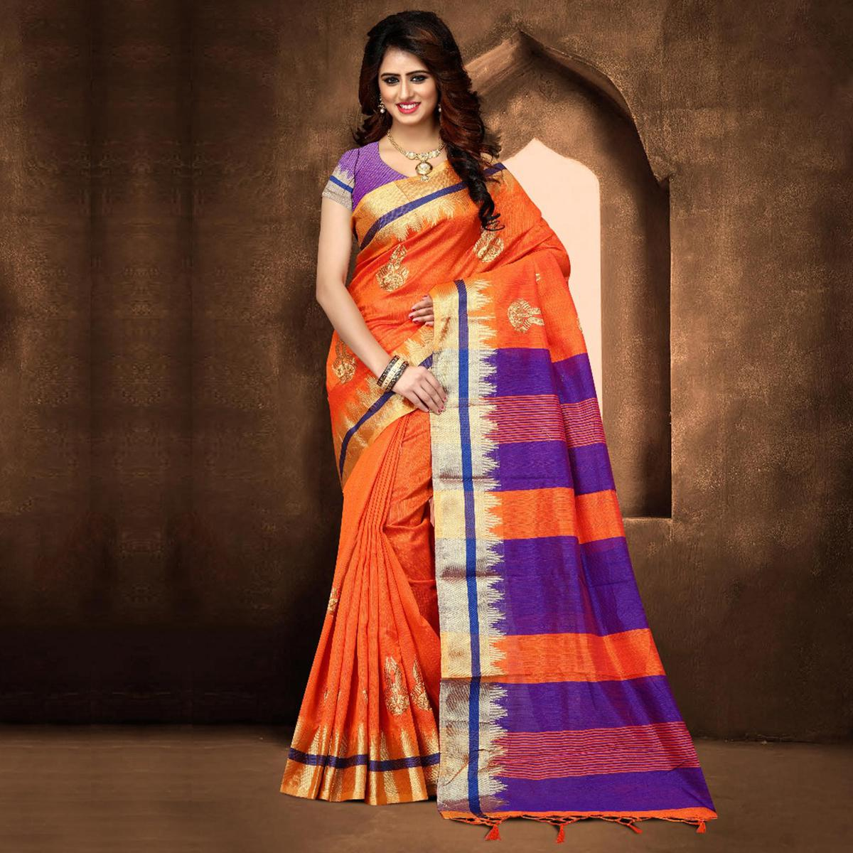 Lovely Orange Colored Festive Wear Weaving Poly Cotton Saree