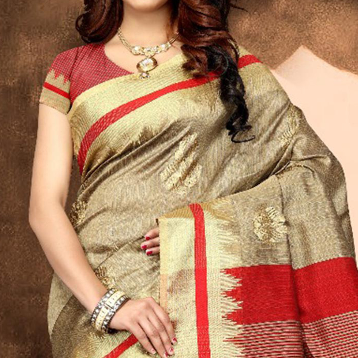 Trendy Beige Colored Festive Wear Weaving Poly Cotton Saree