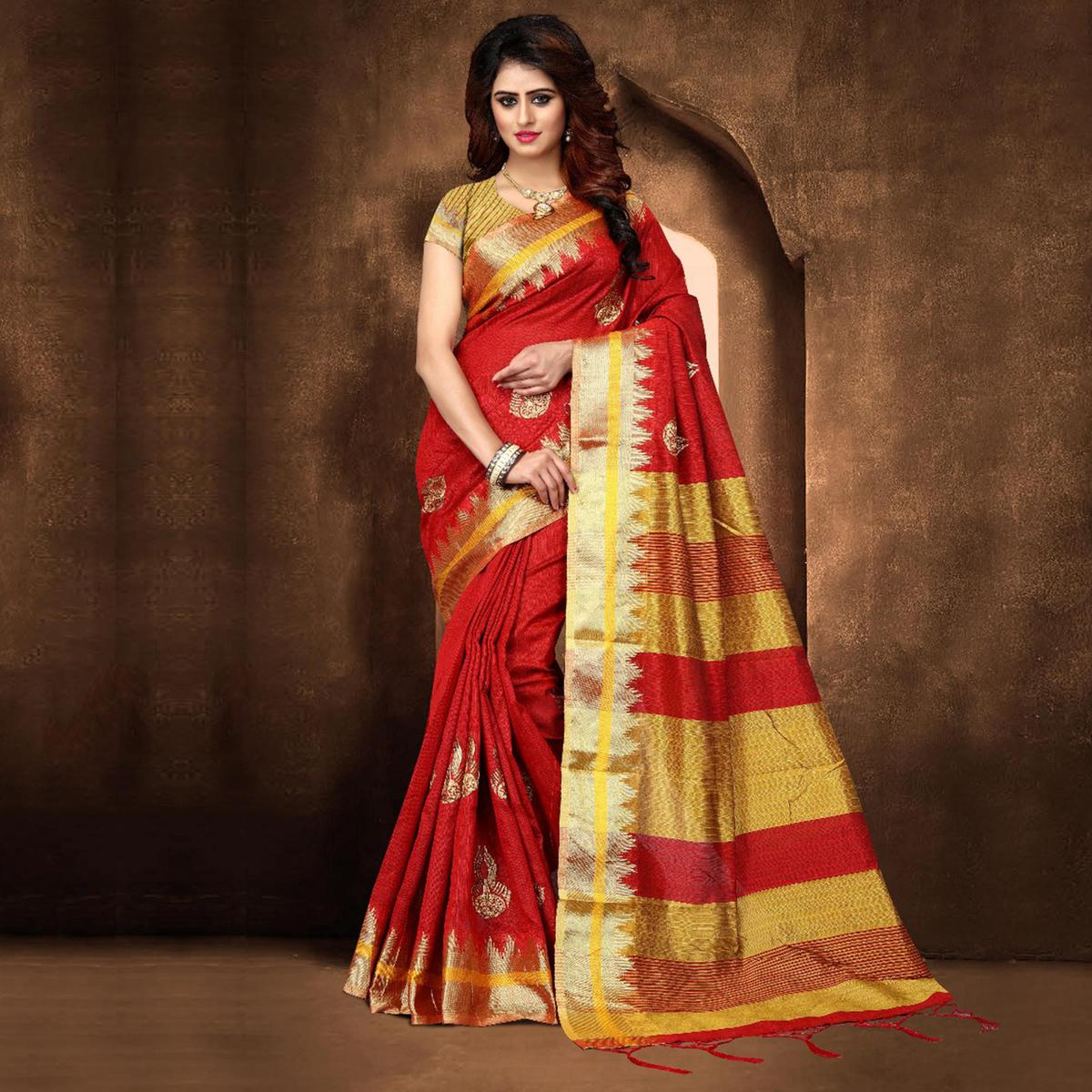 Pretty Red Colored Festive Wear Weaving Poly Cotton Saree