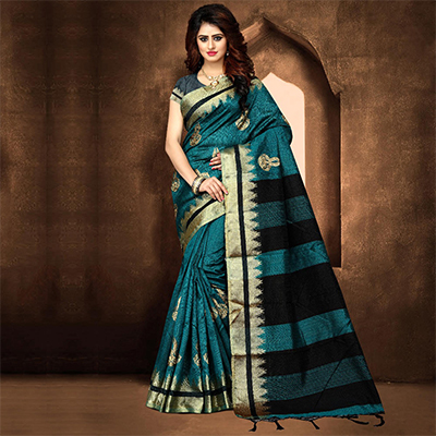 Classy Dark Turquoise Blue Colored Festive Wear Weaving Poly Cotton Saree