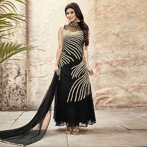 Black Georgette Embroidered Gown