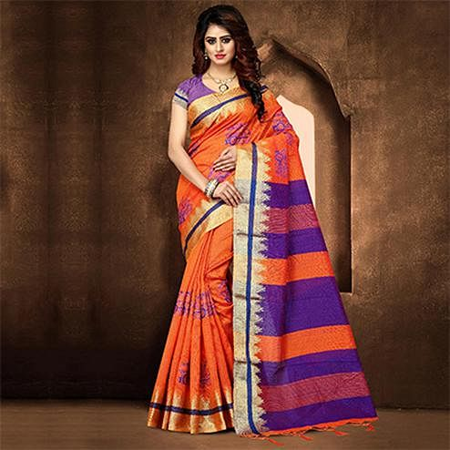 Amazing Orange Colored Festive Wear Weaving Poly Cotton Saree